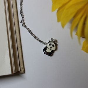 Panda Necklace with Cute Heart Feet